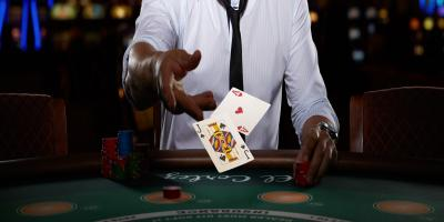 live casino blackjack with player and casino cards at table